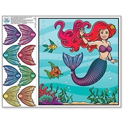 The Pin The Tail On The Mermaid Game is made of cardstock and measures 17 1/2 inches by 19 inches. Each package includes 1 game sheet, 1 blindfold with elastic band attached, and 8 numbered tails. Contains one (1) game per package.