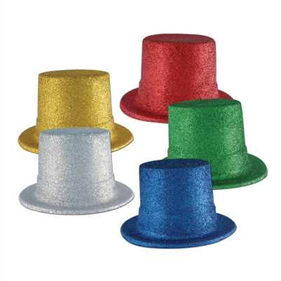 Assorted Glittered Top Hats (sold 24 per box)