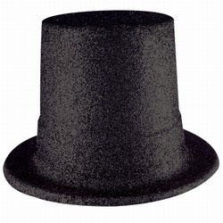 Black Glittered Top Hat