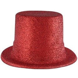 Red Glittered Top Hat