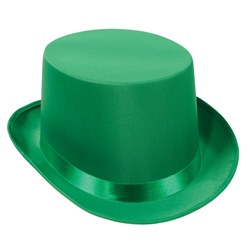 Green Satin Deluxe Top Hat