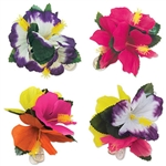 "Have a touch of the tropics anytime with these fun, colorful Tropical Hair Clips!  Each package comes with four 4.5"" clips.  Share with your friends, use as party gifts, or add one to your outfit.  This item is non returnable."