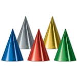 Bulk Assorted Foil Cone Hats (sold 144 per box)