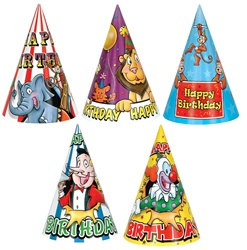 Bulk Circus Birthday Hats (Assorted Designs)