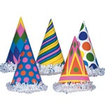 Everyone knows that a fringed cone hat is the international symbol for PARTY! These Fringed Party Hats (Assorted Designs - Priced Individually) are great for birthday parties or any sort of celebration.