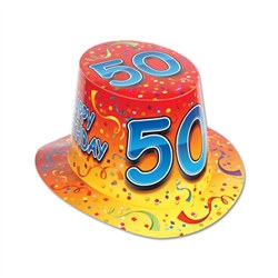 "Orange Happy ""50"" Birthday Hi-Hat (sold 25 per box)"