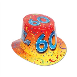 "Orange Happy ""60"" Birthday Hi-Hat (sold 25 per box)"