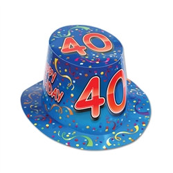 "Blue Happy ""40"" Birthday Hi-Hat (sold 25 per box)"