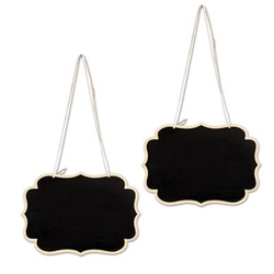 These Chalkboard Signs are made of thin wood, and feature a scalloped edge. One side has a black area filling the entire shape, where you can write your own custom message in chalk. Erasable and reusable. Two signs per package. Measures 9.25 by 6.5 inches