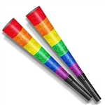 The Pride Horns are glittery rainbow colored horns with a black mouthpiece attached. Made of cardstock and measure 9 inches long. Sold in quantities of 100 per box. No returns.