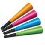 The Neon Horns are florescent party horns with a black mouthpiece attached. Each box comes in an assortment of vibrant colors including orange, pink, blue and green. Made of cardstock and measure 9 inches. Sold in quantities of 100. No returns.