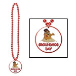 Red Beads with Groundhog Day Medallion (1/pkg)