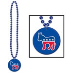 Beads w/Democratic Medallion (1/pkg)