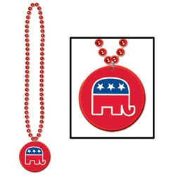 Beads w/Republican Medallion (1/pkg)