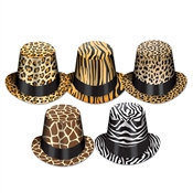 Assorted Animal Print Hi-Hats (sold 25 per box)