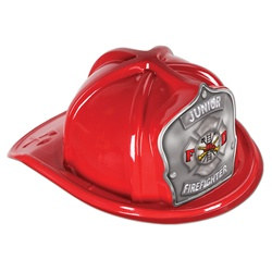 Red Junior Firefighter Hat (Silver Shield)
