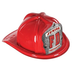 Red Junior Firefighter Hat (FD Silver Shield)