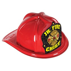 Red Plastic Junior Fire Chief Hat (Yellow Print Shield)