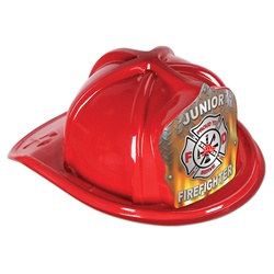Red Junior Firefighter Hat (Flame Shield)