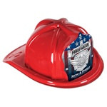 Red Junior Firefighter Hat (Silver Serve and Protect Shield)