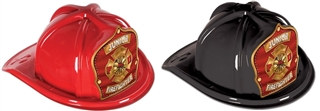 Junior Firefighter Hat with Red and Gold Shield (Choose Color)