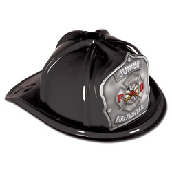 Black Junior Firefighter Hat (Silver Shield)