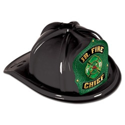 Black Junior Firefighter Hat (Green Shield)