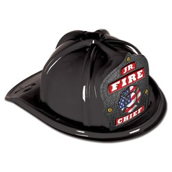 Junior Black Fire Hat (Patriotic Shield)