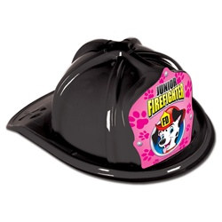 Junior Black Firefighter Hat (Dalmatian Pink Shield)