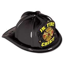 Black Plastic Junior Fire Chief Hat (Yellow Print Shield)