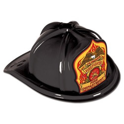 Black Junior Firefighter Hat (Eagle Shield)