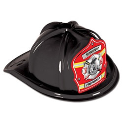 Black Firefighter Volunteer Hat (Red Shield)