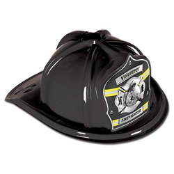 Black Firefighter Volunteer Hat (Gray Shield)