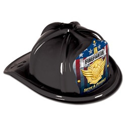 Black Junior Firefighter Hat (Gold Serve and Protect Shield)