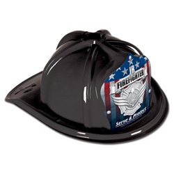 Black Junior Firefighter Hat (Silver and Protect Shield)