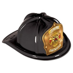 Black Junior Firefighter Hat (Gold Shield)