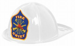White Plastic Fire Chief Hat (1/pkg)