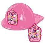 Pink Plastic Fire Chief Hat (Dalmatian Shield)