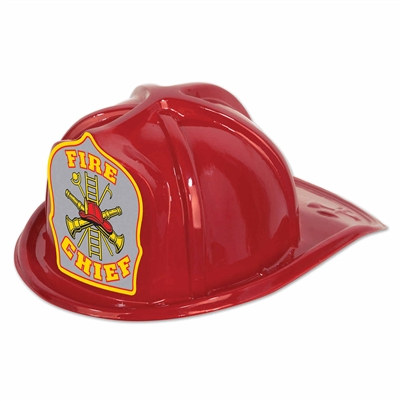 Red Plastic Fire Chief Hat (Silver Shield)