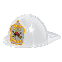White Plastic Fire Chief Hat (Silver Shield)