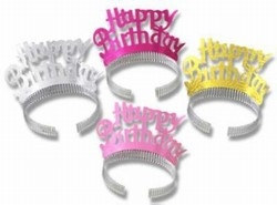 Pkgd Happy Birthday Tiaras (4/pkg)