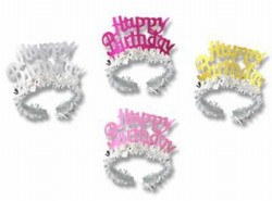 Happy Birthday Tiara with Fringe (1/pkg)