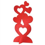 3-D Glittered Heart Centerpiece