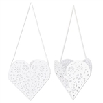 White die-cut hanging heart decorations with an intricate cut-work design on the inside. Comes with a white ribbon to hang from the ceiling. Some simple assembly is required.