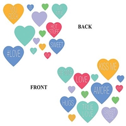 Decorate with The Candy Heart Cutouts and show your loved one how special they are! They are pastel cardstock hearts with heartfelt phrases on them. Each package contains 14 pieces. 7 measure 4 inches, 4 measure 9 inches, and 3 measure 12 inches.