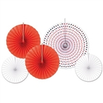 The Paper & Foil Decorative Fans (Asstd Red and White) are paper fans and range in measurement from 9 inches to 16 inches. Include white fans, red glittered fans, and a white paper fan with red foil hearts. 5 fans per package.