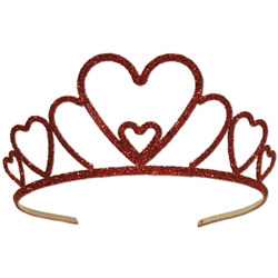 Glittered Metal Heart Tiara
