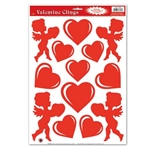 Heart and Cupid Window Clings (13/sheet)