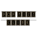 This 12 foot long card stock banner is a great decoration for your 1920's or New Year's Eve party. Use the printed card stock letters to spell Pop Fizz Clink. Letters are gold with a black background. Simple assembly required. String included.