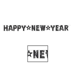 Printed on one side of cardstock material, this Black and White Glittered Happy New Year Streamer features a star design on each letter and measure 8 feet long with each pennant measuring 8 inches in length. Comes one per package.